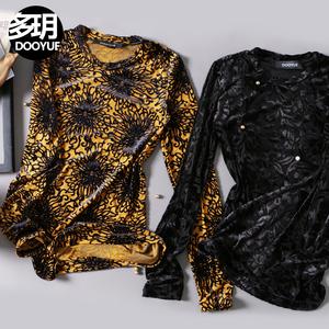 多��h�ᢹ�)�.�_【新年特价--99元】多hh秋季植绒圆领t恤打底衫女装修身上衣女