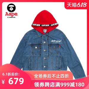 Aape女裝春夏字母印花LOGO織帶帽子可拆卸牛仔夾克外套7222XAA