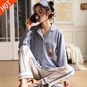 春秋天睡衣服女两件套装可爱韩版T恤唾衣长袖纯棉薄款全棉可外穿d