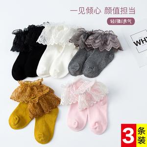 女童寶寶春秋款純棉薄款白色短襪兒童女孩公主襪蕾絲花邊舞蹈襪子