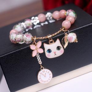 韩国东大门甜美猫咪花朵钟表四叶草串珠学生闺蜜手链手串手饰品女
