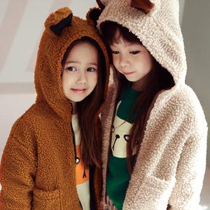 现货 韩国女童秋冬可爱小熊朵毛绒外套儿童宝宝保暖上衣加厚童装