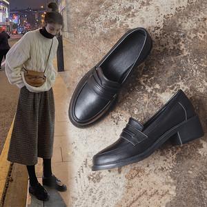 潮牌2020春季新款小皮鞋女真皮韓版百搭英倫風中跟樂福鞋粗跟單鞋
