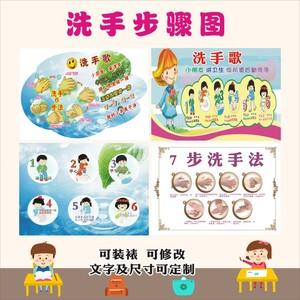 幼儿园洗手步骤图六步洗手法墙贴医院卫生间七步洗手法示意图贴纸