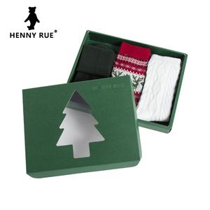 HENNY RUE女士圣诞袜子加厚卡通红色短袜中筒袜女袜棉圣诞节礼物