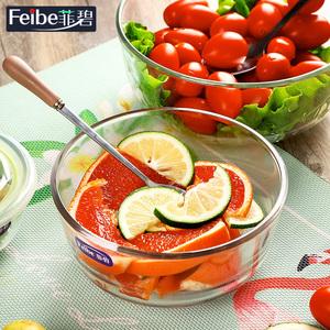 玻璃碗帶蓋家用微波爐耐熱泡面透明湯碗大號單個水果碗學生沙拉碗