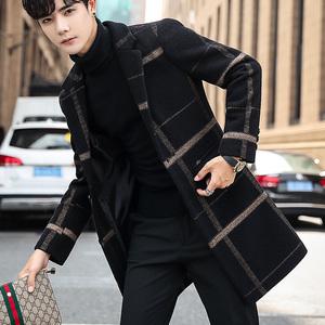 韓版潮流毛呢大衣男秋冬風衣中長款冬季男士呢子外套2019新款格子