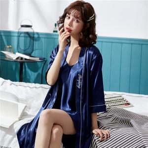 睡衣夏季短袖女士家居服薄款丝绸睡衣套装短裤睡衣冰丝青年居家
