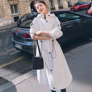 白色风衣女中长款2019春季新款韩版宽松收腰显瘦连帽chic外套潮