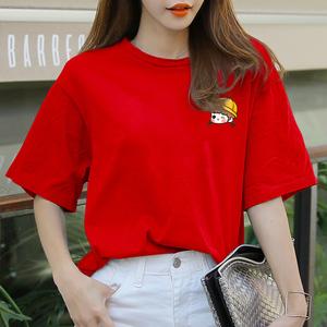 纯棉心机t恤女小众夏季女装2019新款潮卡通印花宽松短袖红色体桖