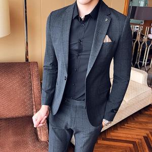 格子休闲西服套装男韩版修身两件套男士潮流小西装外套青年婚礼服