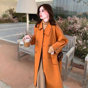 秋冬季仙女百搭中長款加厚雙面羊絨大衣女赫本風橘色毛呢斗篷外套