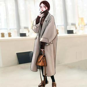 秋冬百搭加厚腰带日系赫本风中长款双面羊绒大衣仙女毛呢外套冬季