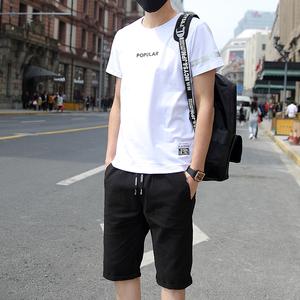 夏季男士套装青少年短袖t恤男?#21487;?#34915;服大码宽松七分裤短裤韩版潮