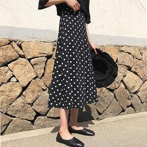夏季复古优雅高腰波点半身裙中长款气质显瘦A字包臀裙鱼尾长裙女