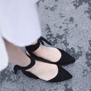 女生拖鞋羊猄皮夏季韓版外穿尖頭半托平底淺口單鞋女黑色綁帶涼鞋