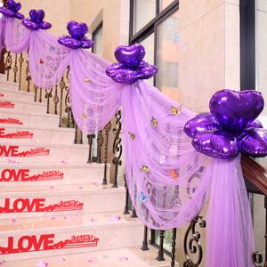 间装扮粉色装饰纱球拉花婚庆用品楼梯扶梯布置纱幔花球浪漫结婚房