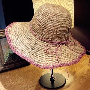 粉色拉菲草帽渔夫遮阳帽女防晒夏天百搭盆帽沙滩帽子夏海边太阳帽