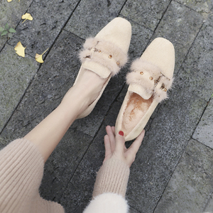 貂毛毛鞋女冬季外穿加绒秋鞋2019新款秋款粗跟中高跟百搭豆豆单鞋