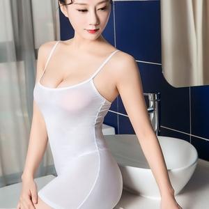 新款情趣内衣性感多色吊带透视超短裙包臀诱惑高弹油亮透明连衣裙