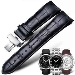 天梭表带真皮T035机械1853牛皮代用库图男女手表带24/23/22/18mm