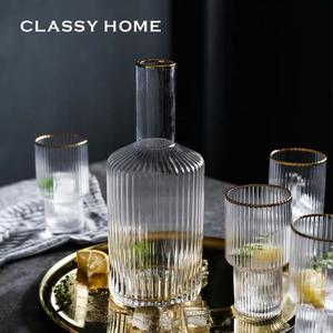 现代北欧简约轻奢玻璃茶具套装酒杯酒具餐具水杯茶壶家用组合礼品