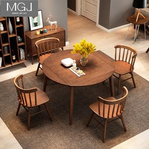 折疊餐桌小戶型圓桌伸縮北歐簡約正方形圓形桌子家用飯桌實木餐桌