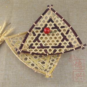 纯手工竹编制品工艺品 竹筐竹篮子天妇罗炸虾篮创意竹编盘平三角