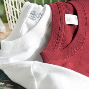 夏季重磅纯色精梳棉短袖t恤男 纯棉内搭白色圆领素色不透男女款