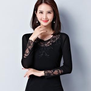 蕾丝网纱打底衫女长袖蕾丝2019春季新款韩版时尚圆领春款大码上衣