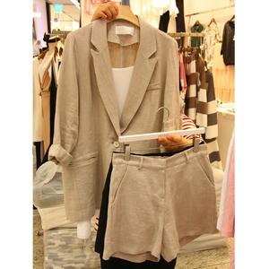 夏季新款2020薄款棉麻西裝套裝女氣質休閑寬松顯瘦西服短褲兩件套