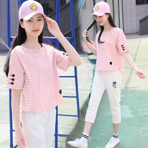 中学生短袖女夏装初中生条纹t恤百搭韩版宽松少女运动套装两件套