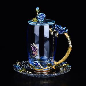 欧式珐琅彩水晶杯玻璃杯少女花茶杯家用带把水杯创意琳琅杯子