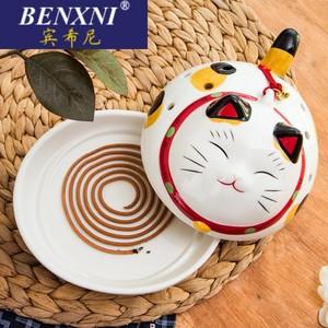 宾希尼B97新款时尚简约招财猫驱蚊器陶瓷摆件蚊香炉香生结婚C0320