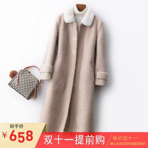 水貂领羊剪绒大衣女中长款2019海宁新款颗粒绒皮毛一体外套羊羔毛