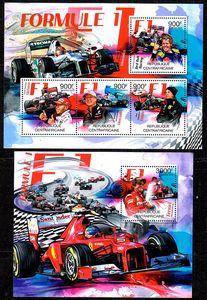 中非2012汽车赛车邮票~F1赛车舒马赫2全小型张新票 看描述