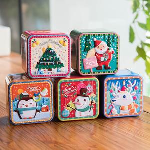 立体浮雕 圣诞喜糖果盒 正方形铁质礼品盒收纳盒 烘焙包装铁盒