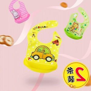 日本购宝宝吃饭围兜婴儿围嘴食饭兜防水立体儿童幼儿园可拆卸免洗