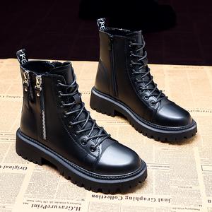 真皮馬丁靴女鞋子2020年秋冬季新款加絨英倫風百搭短靴子雪地棉鞋