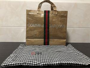 川久网红保玲潮牌原创ACW+CDG定制联名PVC牛皮杜邦纸购物袋大包