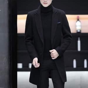 毛呢大衣男士風衣中長款春秋季修身夾克男裝衣服韓版潮流呢子外套