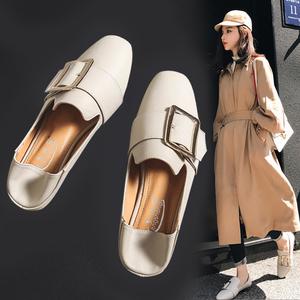 鞋?#20248;?019潮鞋豆豆鞋新款一脚蹬懒人鞋小皮鞋平底单鞋春款乐福鞋