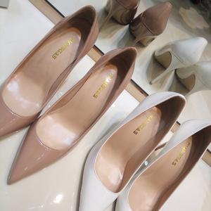 显瘦裸色高跟鞋女细跟尖头浅口2020真皮气质7810cm白色漆皮单鞋