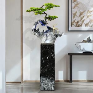 新中式迎客松落地流水噴泉大型簡約現代輕奢客廳辦公室軟裝擺件