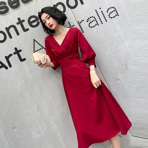 敬酒服新娘女2019秋款酒红色订婚回门平时可穿结婚礼服连衣裙长袖