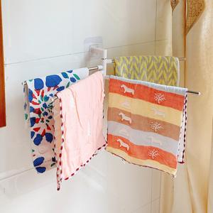掛毛巾神器簡約衛生間洗臉帕面巾收納網紅創意桿免打孔廚房抹布架