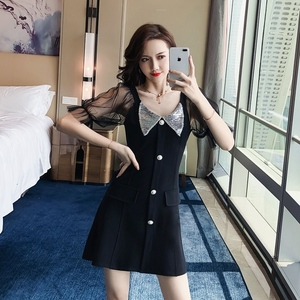 裙子正式场合气质名媛小香风亮片夜店性感连衣裙2019新款夏超仙
