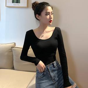黑色打底衫女內搭2021年春秋季新款大u低領口長袖t恤緊身上衣薄款
