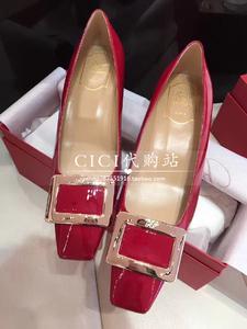 香港代购RV女鞋漆皮金属方扣单鞋同款方头粗跟婚鞋中跟高跟鞋