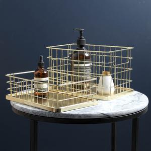 北欧ins风镀金色铁艺收纳篮创意叠放置物筐化妆品杂物桌面整理篮